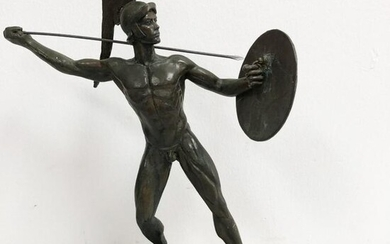 19th c BRONZE FIGURE OF A ROMAN SOLDIER