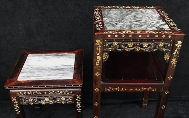 2 MOTHER OF PEARL INLAID ASIAN ROSEWOOD MARBLE TOP