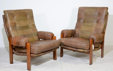 2 Mid Century Patchwork Leather Lounge Chairs