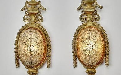 (2) Neoclassical style gilt bronze sconces, ca 1925