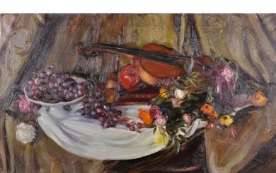 20th Century English School. A Still Life of Fruit and Flowe...