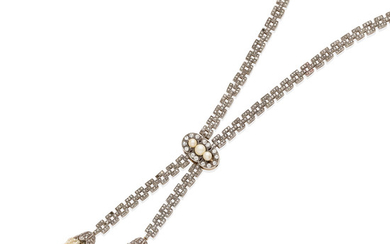 A DIAMOND AND cultured PEARL lavalier necklace,