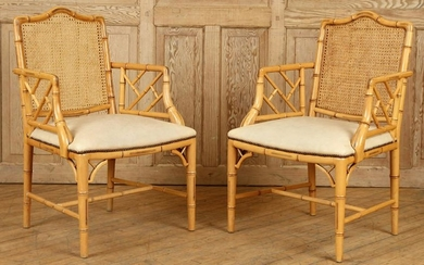 PAIR FRENCH FAUX BAMBOO OPEN ARM CHAIRS C.1960