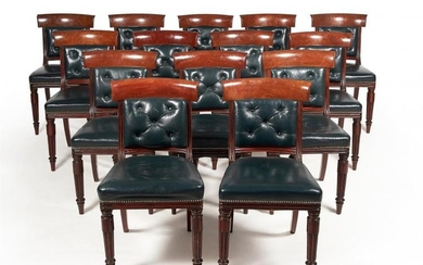 A set of fourteen William IV mahogany dining chairs, of British Government and Royal interest, circa 1835