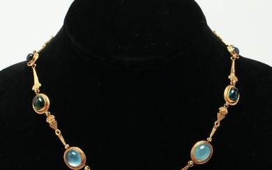 22K Gold Tourmalines & Chrysoberyls Necklace