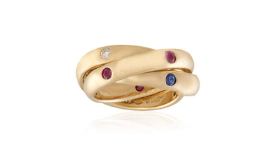 Description A RUBY, SAPPHIRE AND DIAMOND 'TRINITY' RING, BY...