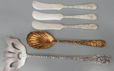 5) KIRK & STIEFF FLORAL REPOUSSE STERLING FLATWARE