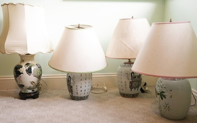 Three Chinese Qing or Republic Era Porcelain Ginger Jar Table Lamps PK1A