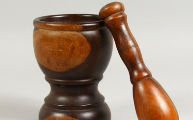 A 19TH CENTURY LIGNUM VITAE PESTLE AND MORTAR. Mortar: