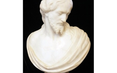 A 19TH CENTURY WHITE MARBLE BUST OF CHRIST On turned socle ...