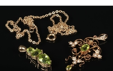 A 9 carat gold peridot and seed pearl openwork pendant and y...