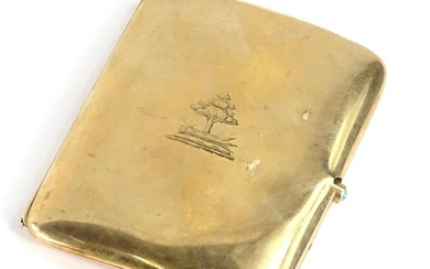 A 9ct gold cigarette case, 60.9g.