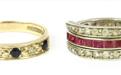A 9ct gold sapphire and diamond half eternity ring