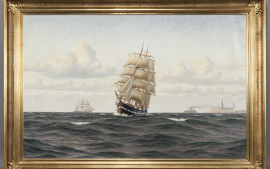 """A. B. Slow """"Untitled (Ships near harbor) oil"""
