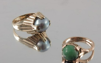A Chinese gold and jade ring, together with a grey