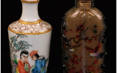 A Chinese porcelain snuff bottle, of shouldered cylindrical ...