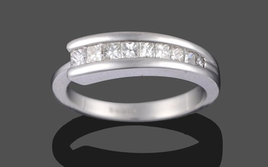 A Contemporary 18 Carat White Gold Diamond Half Hoop Ring,...