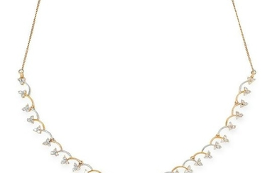 A DIAMOND NECKLACE in yellow and white gold, comprising