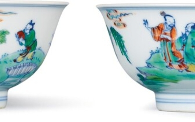 A FINE AND RARE PAIR OF DOUCAI 'FIGURAL' BOWLS MARKS AND PERIOD OF YONGZHENG