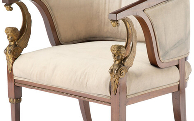 A French Empire-Style Gilt Bronze Mounted Mahogany Barrel Armchair (late 19th century)
