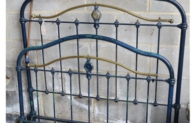 A French brass mounted 4ft iron bedframe, H.138cm