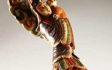 A GOOD 19TH CENTURY CHINESE / ASIAN CARVED & POLY