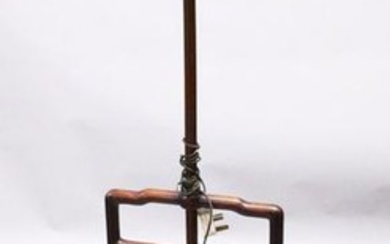 A GOOD 19TH CENTURY CHINESE CARVED HARDWOOD LAMP STAND