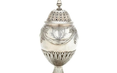A George III silver ovoid pedestal sugar caster by Pierre Gillois