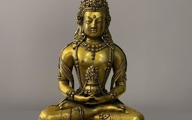 A Gilt Bronze Figure of Amitayus, Mongolia, Zanabazar School, 17 - 18th century.