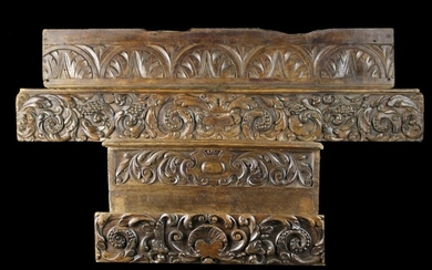 A Group of Carved Fragment Panels: A 17th Century Oak Bulge Front Frieze Panel carved in relief with
