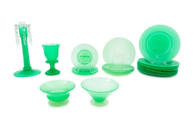 A Group of Green Opaline Glass Table Articles