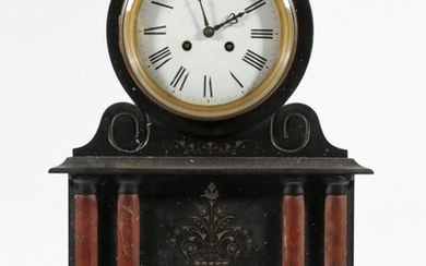 A Large Black Slate Mantle Clock With Rouge Flanked Columns (H:50cm W:36cm D:19cm) (With Pendulum)