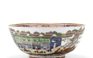 A Large Chinese Export Punch Bowl Featuring the Hongs