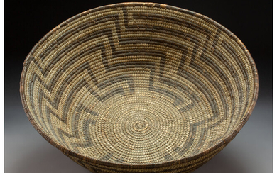 A Large Papago Coiled Bowl c. 1900 willow and...