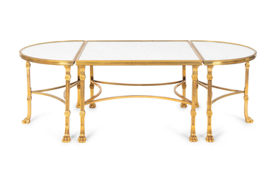 A Louis XVI Style Gilt Bronze and Marble Three Piece Cocktail Table