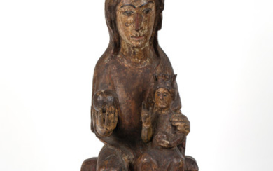 A NORTHERN SPANISH SCULPTURE OF THE ENTHRONED VIRGIN AND CHILD (SEDES SAPIENTIAE), CIRCA 1200