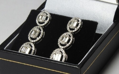A PAIR OF 18CT WHITE GOLD AMD DIAMOND DROP EARRINGS, Three ...
