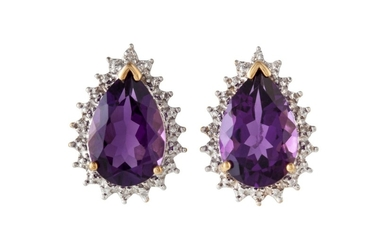 A PAIR OF AMETHYST STUD EARRINGS, the pear shaped amethysts ...