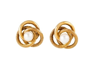 A PAIR OF CULTURED PEARL EARRINGS, the pearl to a knot desig...