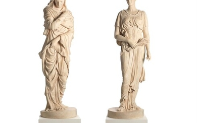 A PAIR OF FINE TINTED PLASTER ALLEGORICAL FIGURES EMBLEMATIC OF THE SEASONS, MODERN
