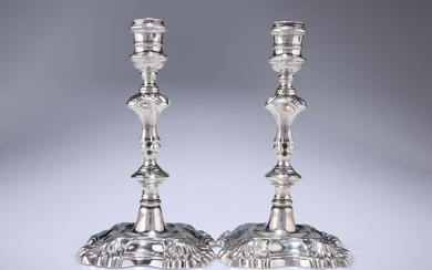 A PAIR OF HANDSOME GEORGE II SILVER CANDLESTICKS, MARY