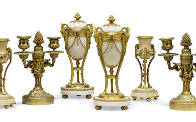 A PAIR OF LOUIS XVI ORMOLU-MOUNTED WHITE MARBLE CASSOLETTES AND A PAIR OF CANDLESTICKS, LATE 18TH CENTURY/EARLY 19TH CENTURY