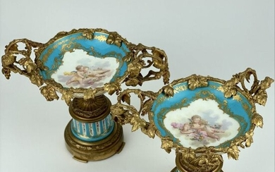 A PAIR OF SIGNED H. PICARD DORE BRONZE MOUNTED SEVRES