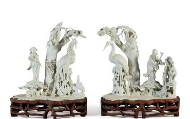 A PAIR OF UNGLAZED WHITE PORCELAIN 'IMMORTALITY' GROUPS, REPUBLIC PERIOD