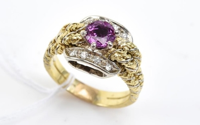 A PINK SAPPHIRE AND DIAMOND RING IN TWO TONE 18CT GOLD, SIZE N