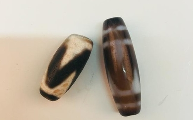 A Pair of Chinese Agate Beads