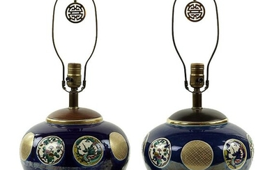 A Pair of Chinese Polychrome Glazed Ceramic Lamps.