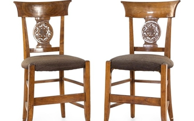 A Pair of Continental Walnut Side Chairs