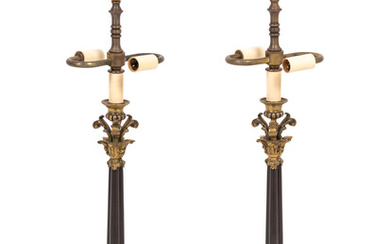 A Pair of Empire Style Gilt and Patinated Bronze Candelabra Mounted as Lamps