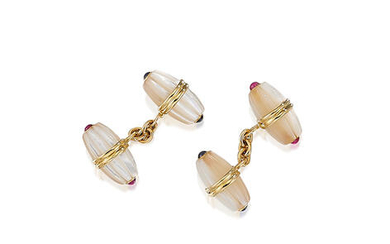 A Pair of Mother-of-Pearl and Gem-Set Cufflinks,, by Tiffany & Co.